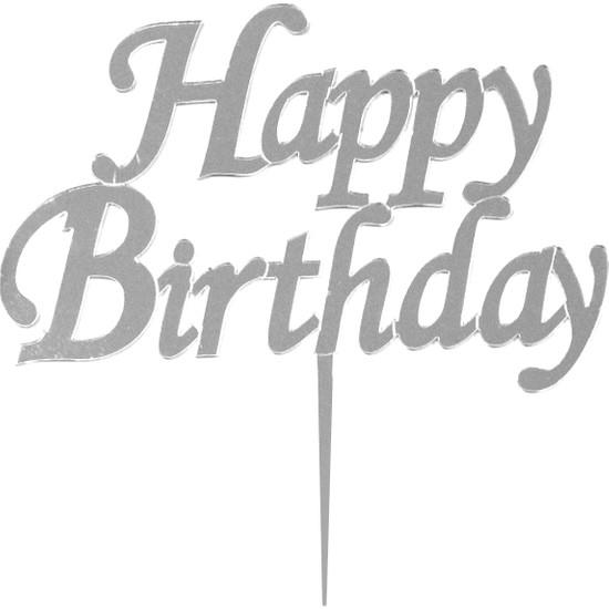 Parti Bulutu Happy Birthday Yazılı Aynalı Gümüş Pleksi
