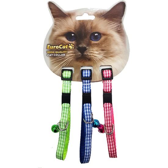 Eurocat Renkli Ekoseli Çıngıraklı Kedi Boyun Tasması 3'lü