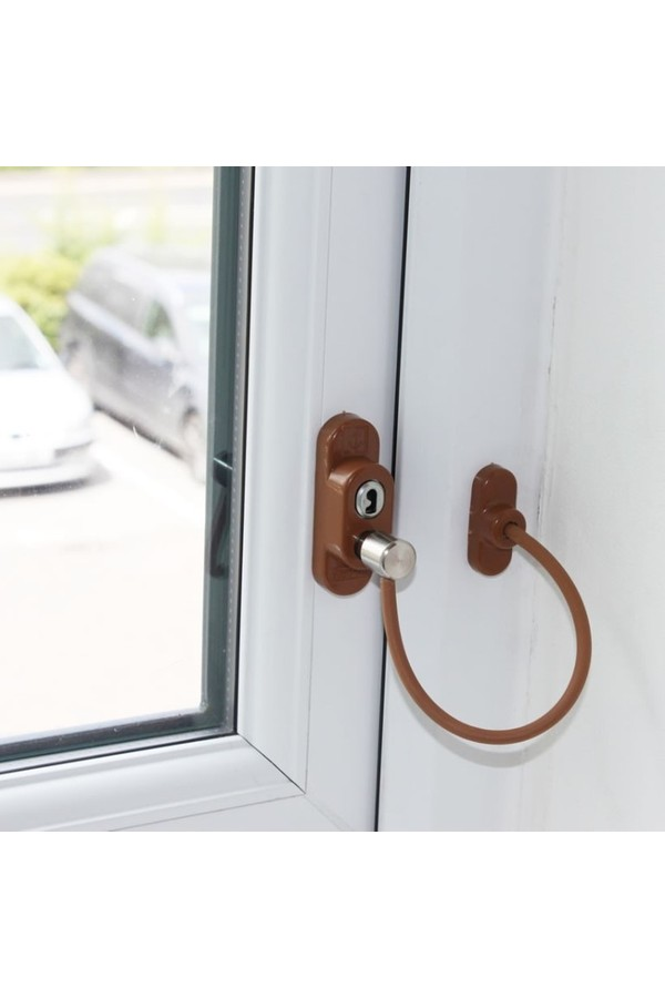 Penkid Cable PVC Window Safety Lock Light Brown