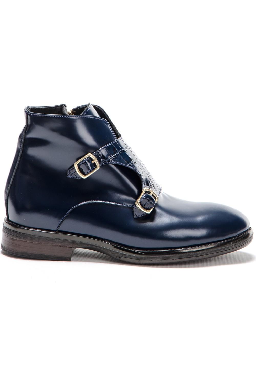 Silvio Massimo Genuine Patent Leather Buckle Men's Boots