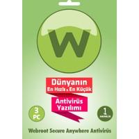 Webroot SecureAnywhere Antivirus 3 Kullanıcı 1 Yıl