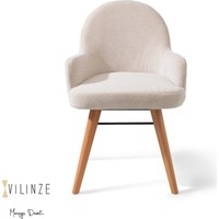 Vilinze Atlas Sandalye, 2 Adet , Beyaz Kumaş, Natürel Ahşap Ayak