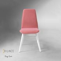 Vilinze Monaliza Sandalye, 2 Adet , Pembe Kumaş, Beyaz Ahşap Ayak
