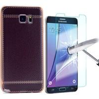 KılıfShop Samsung Galaxy Note 5 Deri Görünüm Silikon Kılıf + Kırılmaz Ekran Koruyucu