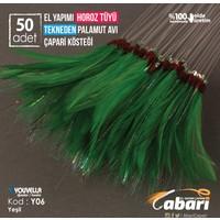 Abari Tekne Palamut Çaparisi Kösteği Horoz Tüyü Yeşil Y06 50Ad 3/0 No Beyaz İğne