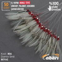 Abari B06 Horoz Tüyü Çinekop Çapari Kösteği Beyaz 50Ad 5 No Beyaz İğne