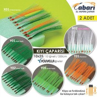 Abari 10X25 İstavrit Kıyı Çaparisi El Yapımı 330 cm 2Adet 11 No Beyaz İğne - Y05 Fıstık Yeşili