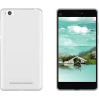 CaseUp Xiaomi Mi 4c Kılıf, CaseUp İnce Şeffaf Silikon Beyaz + Cam
