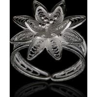 Akyüz Gümüş Yıldız İşlemeli Telkari Gümüş Yüzük Yt006