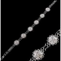 Akyüz Gümüş Papatya İşlemeli Telkari Gümüş Bileklik Bt032