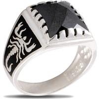 Akyüz Gümüş Siyah Zirkon Taşlı Akrep İşlemeli Gümüş Yüzük Ey037