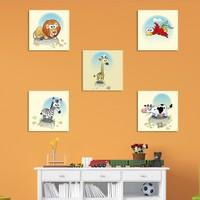 Artmoda Mutlu Hayvanlar 13 Kanvas Tablo 5 Parça Set