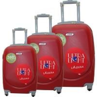 Laguna 2022 Pvc Kırmızı Valiz Bavul Seti
