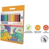Gıpta 12 Renk Jumbo Üçgen Kuru Boya Kalemi Kalem Traşlı