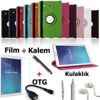 Mustek Samsung Galaxy Tab T580 T585 T587 360 Dönerli Tablet Kılıf+Film+Kalem+Otg Kablo+Kulaklık