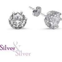 Silver & Silver Zirkon Özel Tek Taş Küpe