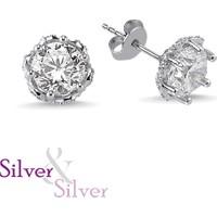 Silver & Silver Zirkon Kalbimin Taçı Tek Taş Küpe
