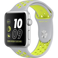 Apple Watch Seri 2 38mm Gümüş Rengi Alüminyum Kasa ve Mat Gümüş/Volt Nike Spor Kordon - MNYP2TU/A