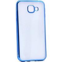 Case 4U Samsung Galaxy A8 2016 Kılıf Lazer Kaplamalı Nikelaj Silikon Mavi
