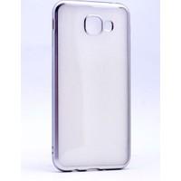 Case 4U Samsung Galaxy A8 2016 Kılıf Lazer Kaplamalı Nikelaj Silikon Gümüş Gri