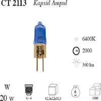 Cata 12 Volt 20 Watt G4 Duylu Halojen Kapsül Ampul 10' Lu Paket