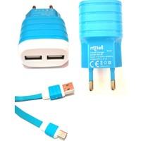 mytell Micro Usb Mavi-Beyaz Şarj Cihazı
