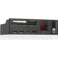 Silverstone Voltaj Amper Göstergeli 2xUSB 3.0 1xUSB 3.1 Şarj Portlu Kart Okuyuculu Fan Kontrolcülü 5.25 Ön Panel (SST-FP59B)
