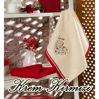 Maxstyle Mutfak Havlusu 2'li 40 x 60 Cm - Krem-Kırmızı