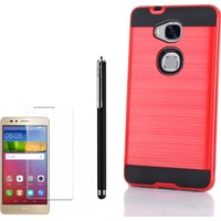 Gpack Huawei Gr5 Kılıf Sert Kapak Darbe Emici Arka Kapak Kırmızı + Kalem + Kırılmaz Cam