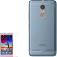 Gpack Lenovo K6 Kılıf İnce 02Mm Silikon Arka Kapak Mavi + Cam