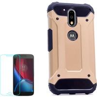 Gpack Motorola Moto G4 Plus Kılıf Crash Darbe Emici İçi Silikon Sert Kılıf Altın + Cam