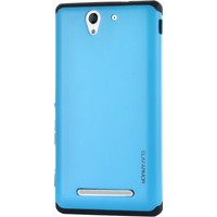 Gpack Sony Xperia C3 Kılıf Sert Arka Kılıf Slim Case Armor Mavi