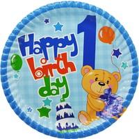Tahtakale Toptancısı Tabak Karton 1 Yaş Happy Birthday Ayıcıklı 23 Cm (8 Adet)