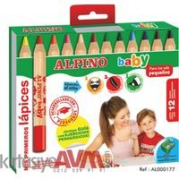 Alpino 12 Renk Kalın Kuru Boya Bebekler İçin