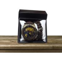 Hediyecixo Nostalji Tasarımlı Erkek Kol Saati ve 2 Adet Bileklik