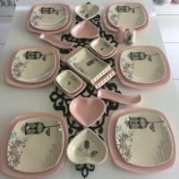 Keramika 26 Parça Retro Açık Pembe Kahvaltı Takımı