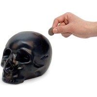 Kikkerland Ceramic Skull Coin Bank - Seramik Kafatası Kumbara