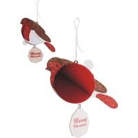 Wooderfullife 9263104-Süs Dekorlu Yılbaşı Kart - Kırmızı Kuş