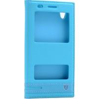 Kny Huawei Ascend Y6-2 Kılıf Gizli Mıknatıslı Pencereli +Kırılmaz Cam