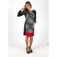 Fuçin Puantiye Desenli Hamile Elbise 5723 - Siyah