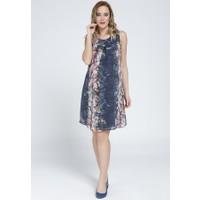 Gör&Sin Hamile Şifon Elbise G-8007 - Lacivert