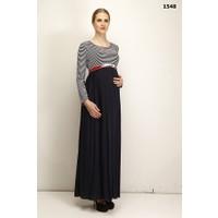 Livaa Kemerli Penye Uzun Hamile Elbise L-1548 - Lacivert