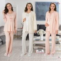 Mecit Lohusa Emzirme 3'lü Pijama Takım M-1501 - Ekru
