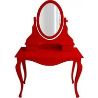 Masifart Elpi Makyaj Masası Aynalı Dresuar Kırmızı