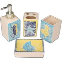 Setabianca Bath Banyo Seti 4Lü Mozaik Denizatı Mavi