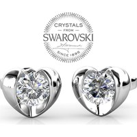 Monemel Swarovski® Taşlı Kalp Küpe (Altın Kaplama) E0289
