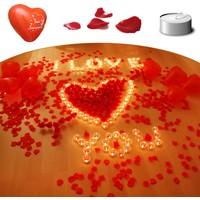 İkigünde Sevgiliye Evlilik Teklif Seti 900 Gül Yaprağı 20 Balon 30 Mum