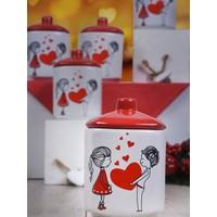 Keramika 10 Parça 8 Cm Dolu Kalp Köşem Baharat Takımı