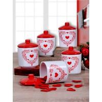 Keramika Takım Baharat Köşem 8 CM 10 Parça Beyaz 004-Kırmızı 506 Zeus