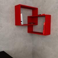 Decortie Ring Köşe Kitaplık - Kırmızı-Kırmızı